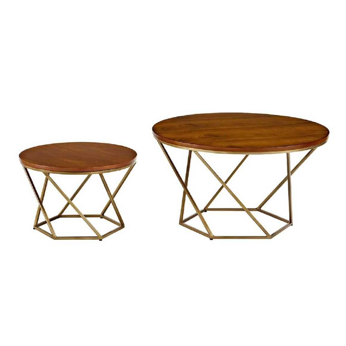 Geometric Wood Nesting Coffee Tables In Walnut And Gold By