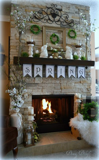 Spring Mantel Decorating Ideas Spring Mantel Decor Spring Mantel Ideas Simple Spring Mantel Spring Easter Decor Spring Decor Spring Home Decor