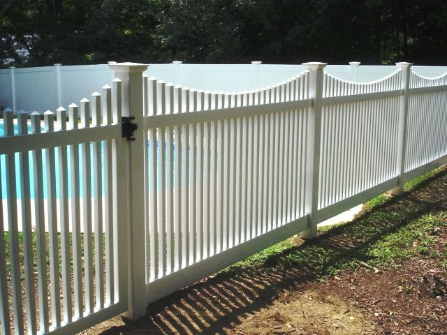 Pin By Salem Fence Co On Vinyl Fence Pool Fence Pool Fencing Landscaping Backyard Pool