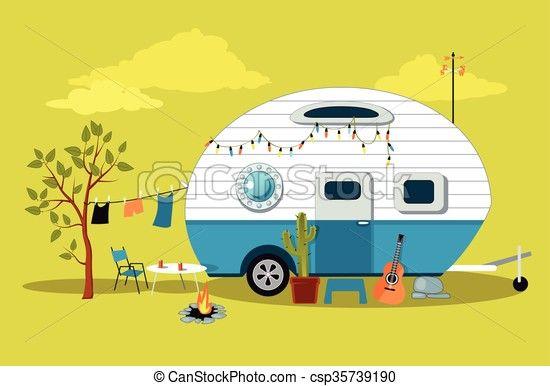 Little Vintage Camper Eps Vectors