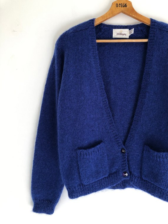 ca9366c371d1b8 Vintage 80's Royal Blue Mohair Cardigan Sweater M   Products in 2019 ...