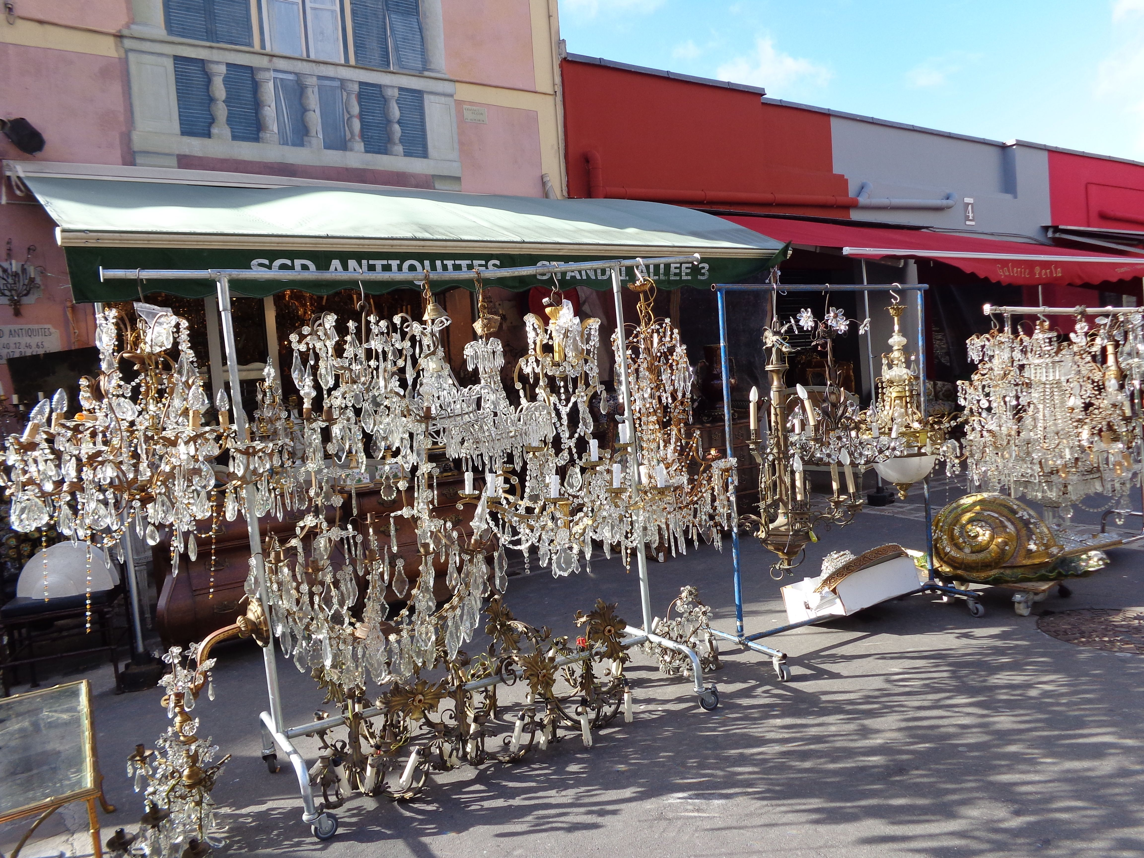 chandeliers in paris market, antiques, french, decorative, ornate.