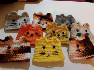 Kitty & Doggie cup cozy pattern by Kendra Ohern