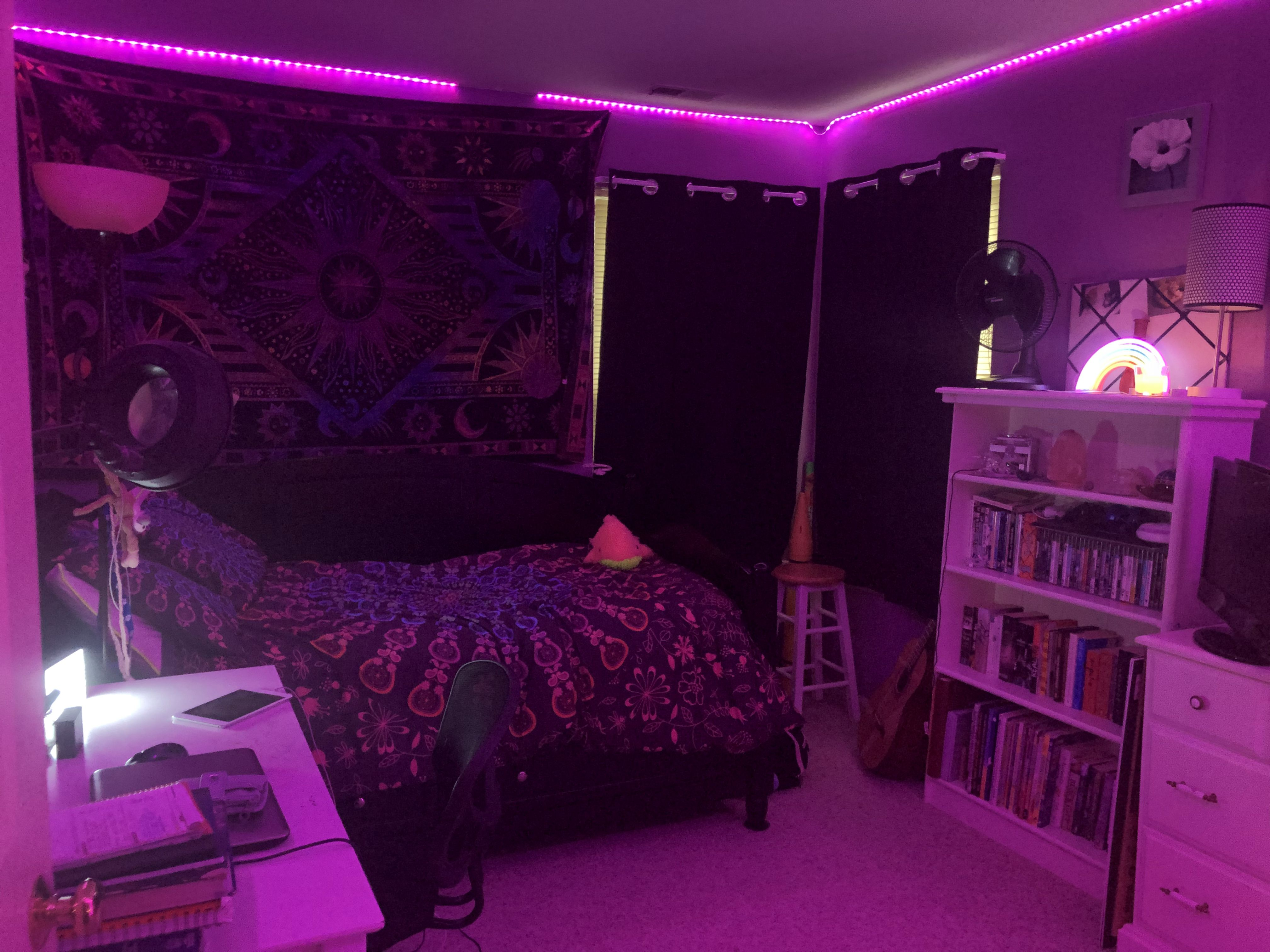 led strip lights and stuff from amazon lmao neon room chill room aesthetic bedroom on cute lights for bedroom decorating ideas id=73624