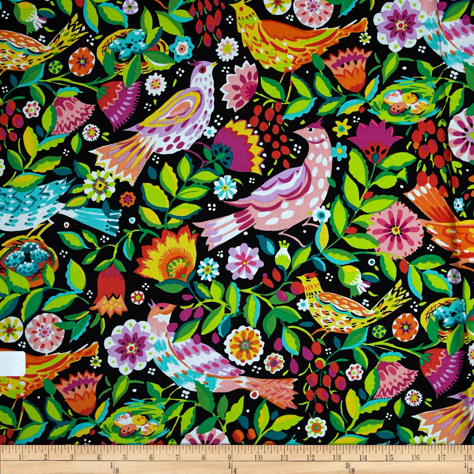 Micheal Miller Melodies Folk Birds Black Fabric