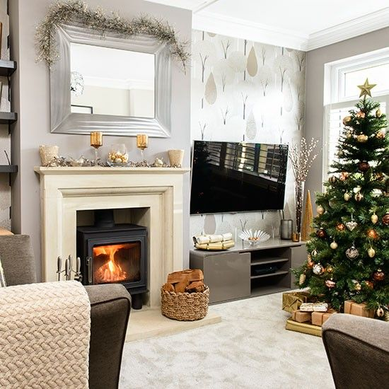 Pale Grey And Taupe Christmas Living Room