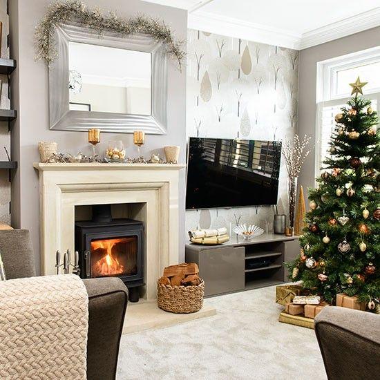 Housetohome Co Uk: Pale Grey And Taupe Christmas Living Room