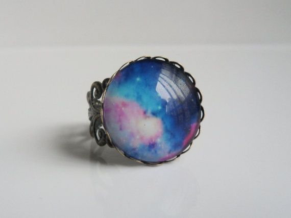 Mother's Day gift  Vintage Time gem rainbow  starry sky bronze hollow adjustable ring ,wedding,birthday gift on Etsy, $5.00