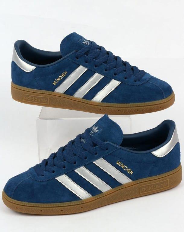 Adidas Munchen Trainers Deep Blue /Silver | Blue adidas shoes ...