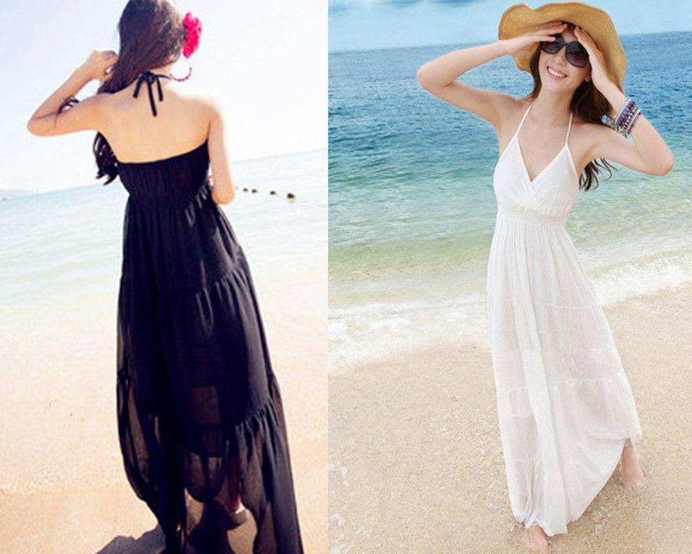 Aliexpress Com Buy New Summer V Neck Design Chiffon Maxi Dresses Spaghetti Strap Bohemian Beach Long Dress Black White Color From Reliable Dress White Dress S [ 800 x 1000 Pixel ]