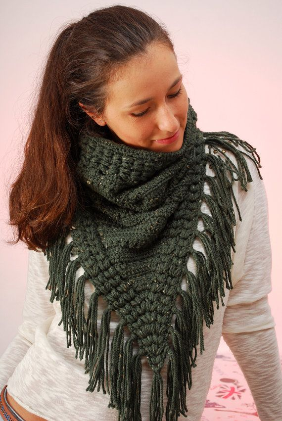 EXPRESS SHIPPING to US, Canada! Fringe cowl, Dark Green scarf ...