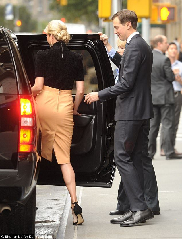 What Ivanka Trump is wearing today. Black mock turtle sweater, camel  leather skirt,