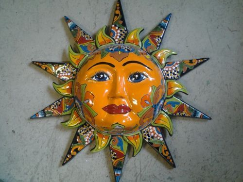 Mexican Pottery Ceramic Wall Sun Face New Wall Decor Plaque