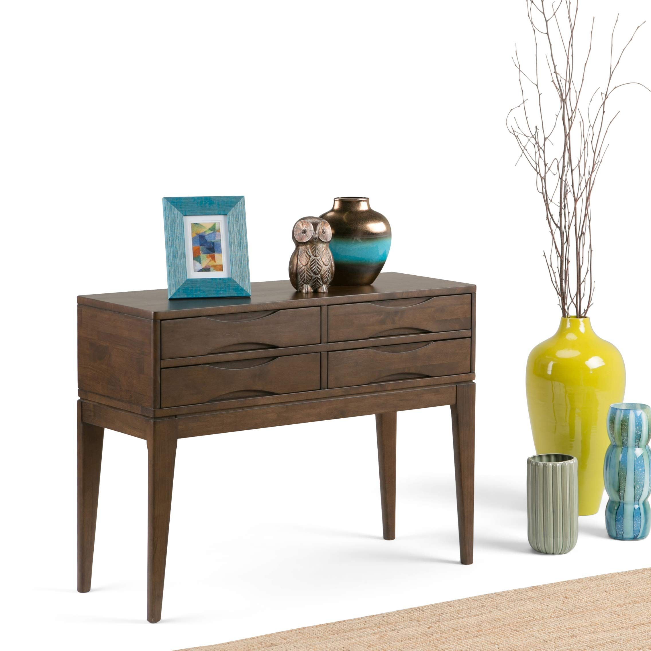 Simpli Home 3axchrp 04 Harper Solid Hardwood 40 Inch Wide Mid Century Modern Hallway Console Sofa Tabl Console Table Hallway Hallway Console Wood Console Table