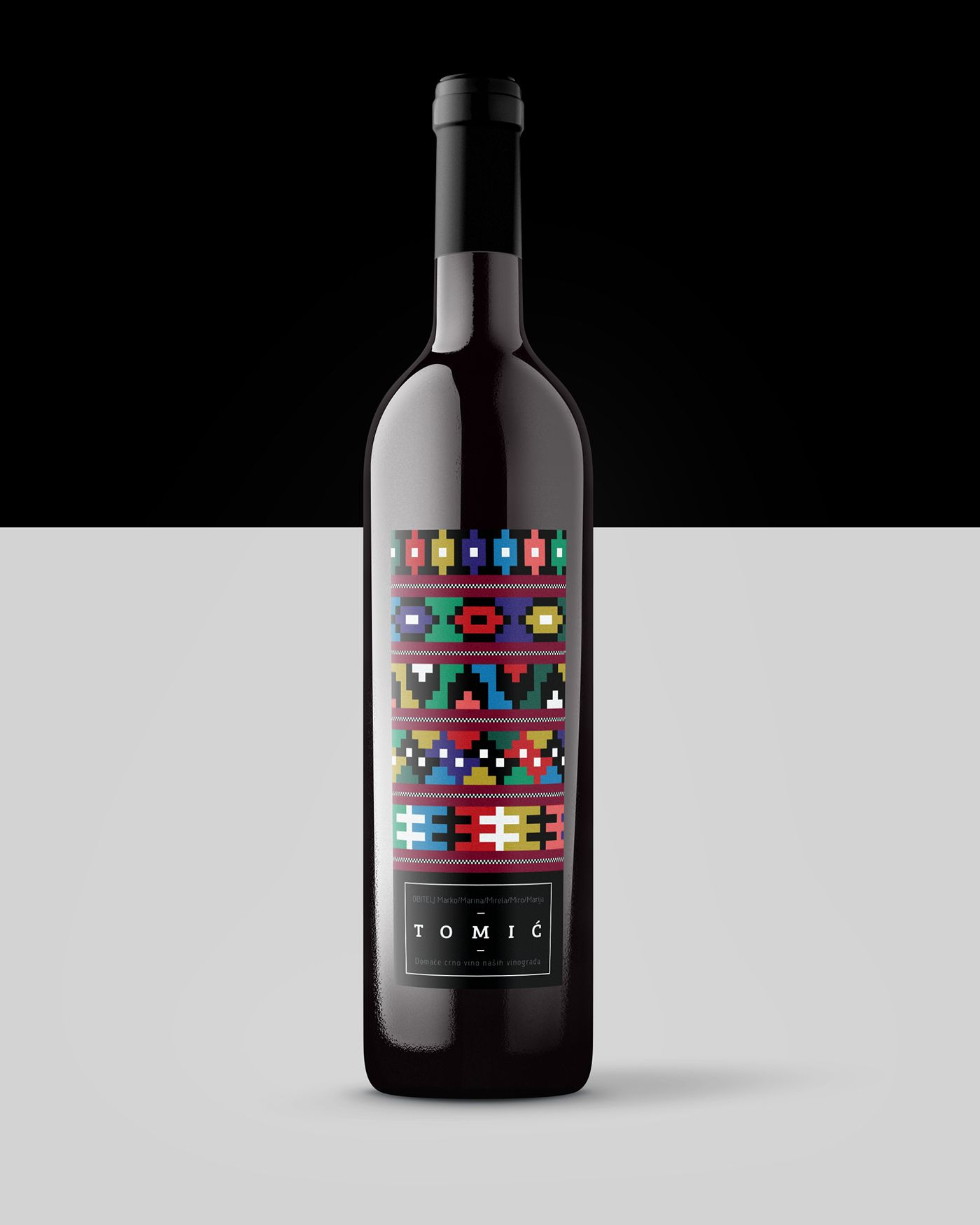 this wine label is inspiredtraditional decorative etno