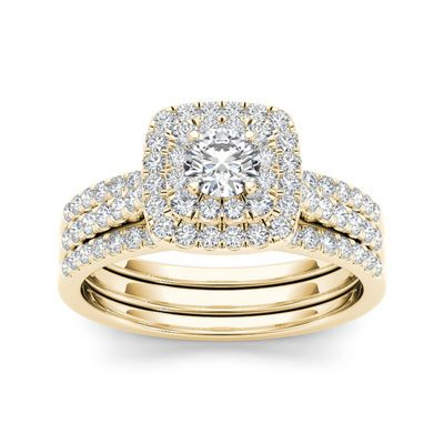 Buy 1 Ct T W Diamond 10k Yellow Gold Halo Bridal 3 Piece Ring Set At Jcpenney Com Halo Engagement Ring Sets Rose Gold Bridal Ring Double Halo Engagement Ring