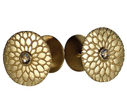 Men's 18K Gold Lotus Mandala Cufflinks with Indian Diamonds