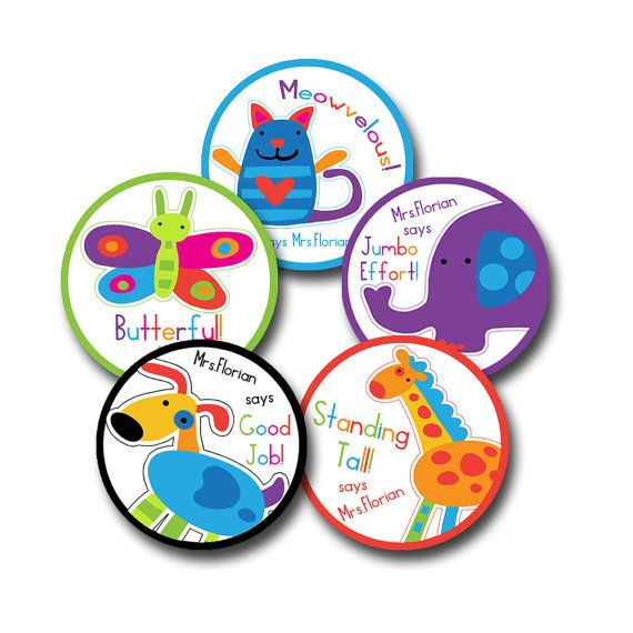 Kinder animals personalized stickers for teachers personalised stickers animalsteacherclassroomcustom