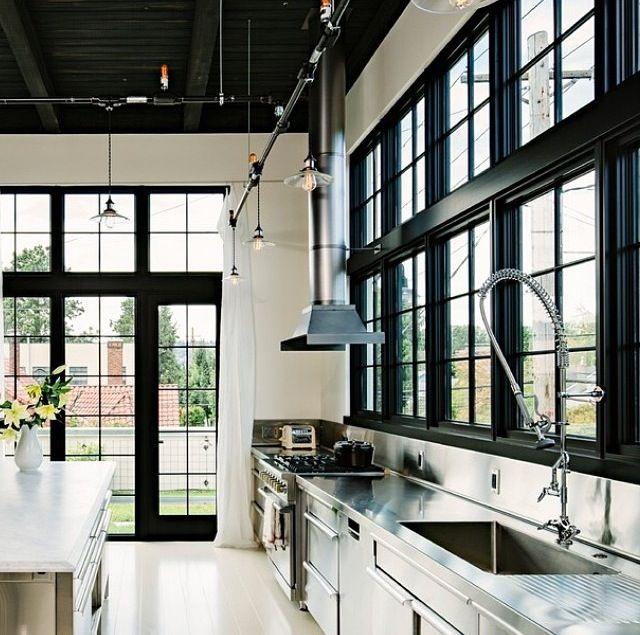 Industrial Kitchen Black Windows Www.staceking.com