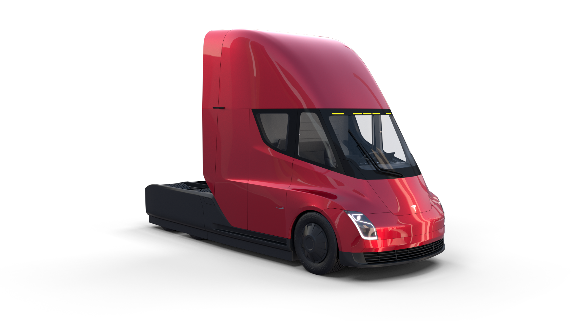 Tesla Semi Truck With Interior And Trailer Red Tesla Semi Truck Semi Trucks Tesla