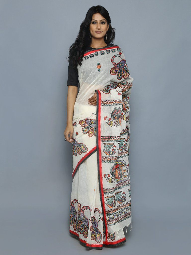 58ca4377b9bccd Off White Red Hand Painted Madhubani Cotton Saree | Traditional all ...