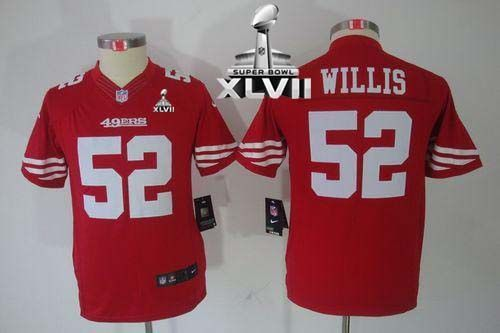 ... Elite Red Drift Fashion NFL Jersey Outlet Nike 49ers 52 Patrick Willis  Red Team Color Youth Super Bowl XLVII Embroidered NFL Limited ... 65414d224