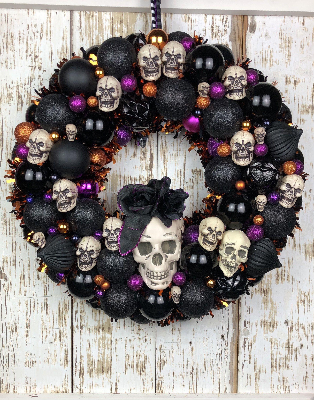 Halloween Ornament Wreath Skull Wreath Halloween Etsy In 2020 Halloween Ornament Wreath Skull Wreath Halloween Ornaments
