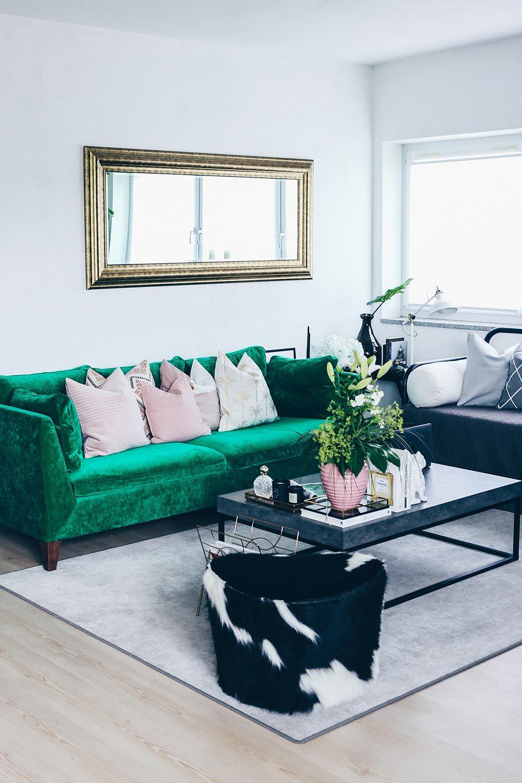 unsere neue wohnzimmer-einrichtung in grün, grau und rosa!   green