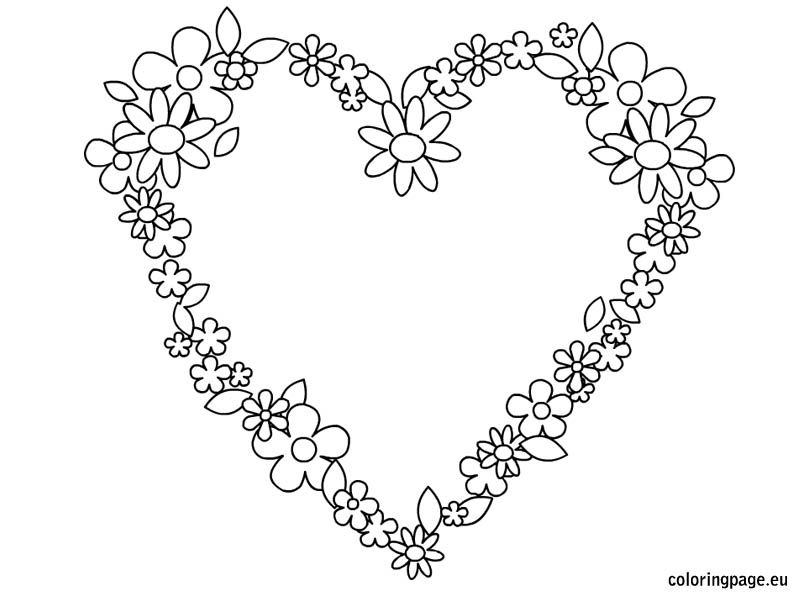 Heart Flowers Coloring Page Heart Coloring Pages Flower Coloring Pages Embroidery Hearts