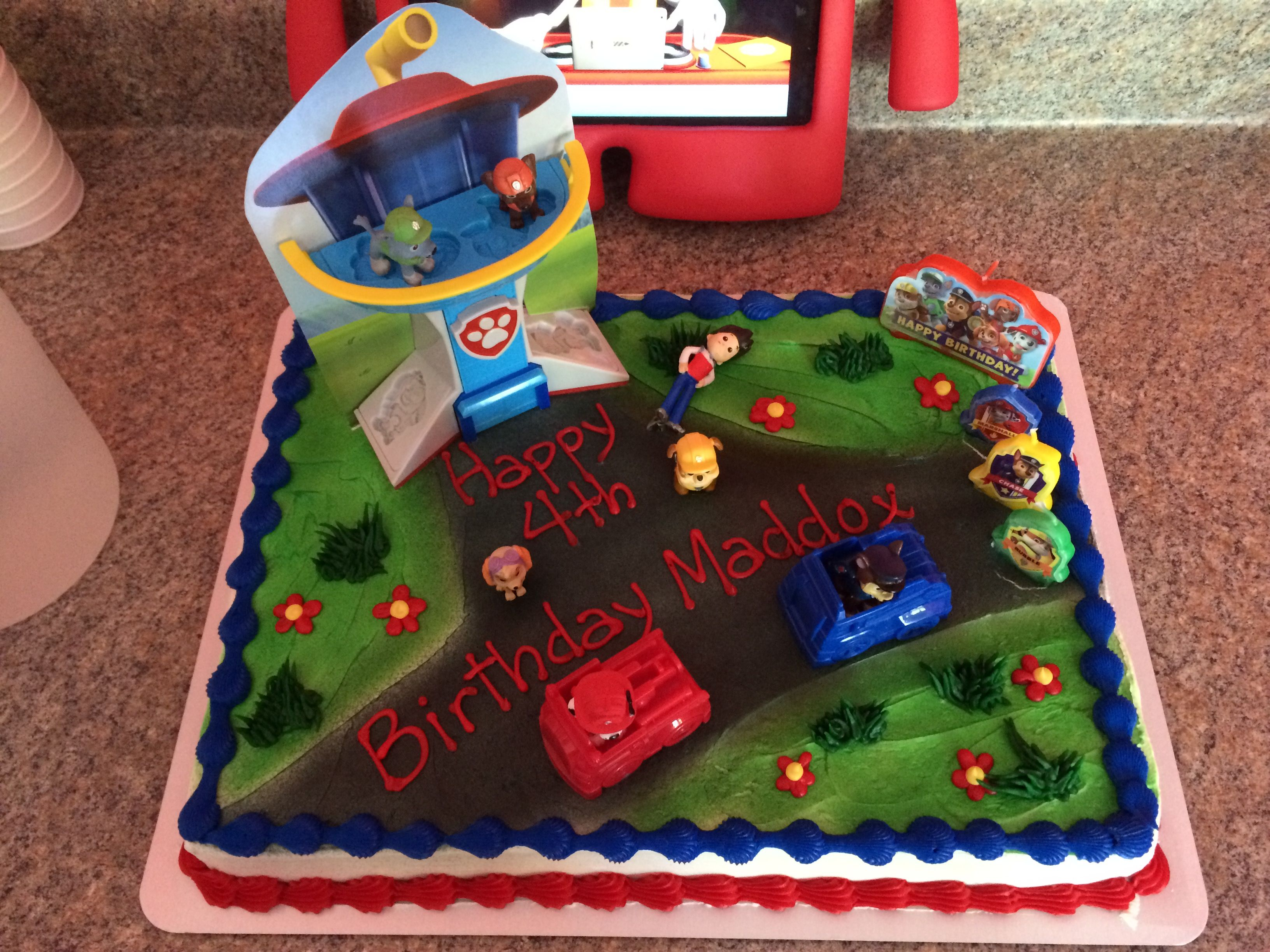 This Was A Mickey Mouse Club House Standard Cake From Target Added Paw Patrol Play Doh Cars And Lookout Tower Figures Candles Party