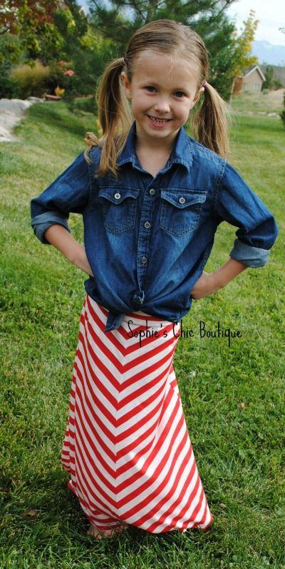e76a61f6ab Girls V Chevron Maxi Skirt- Red White