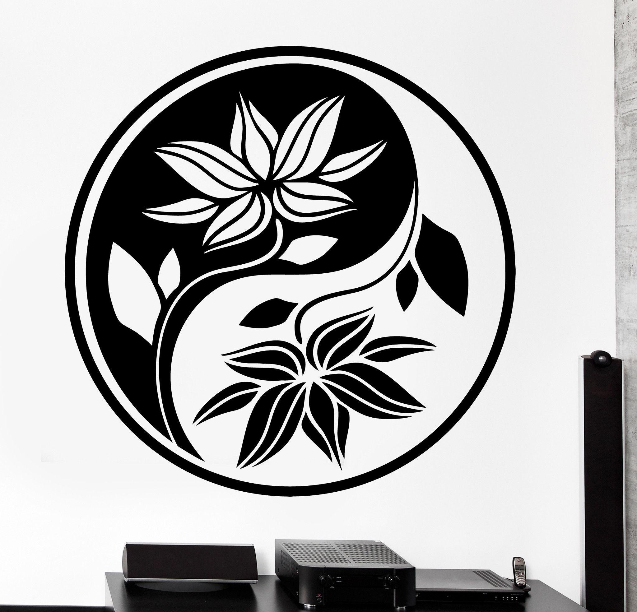 Wall vinyl decal yin yang buddha yoga meditation flower decor unique