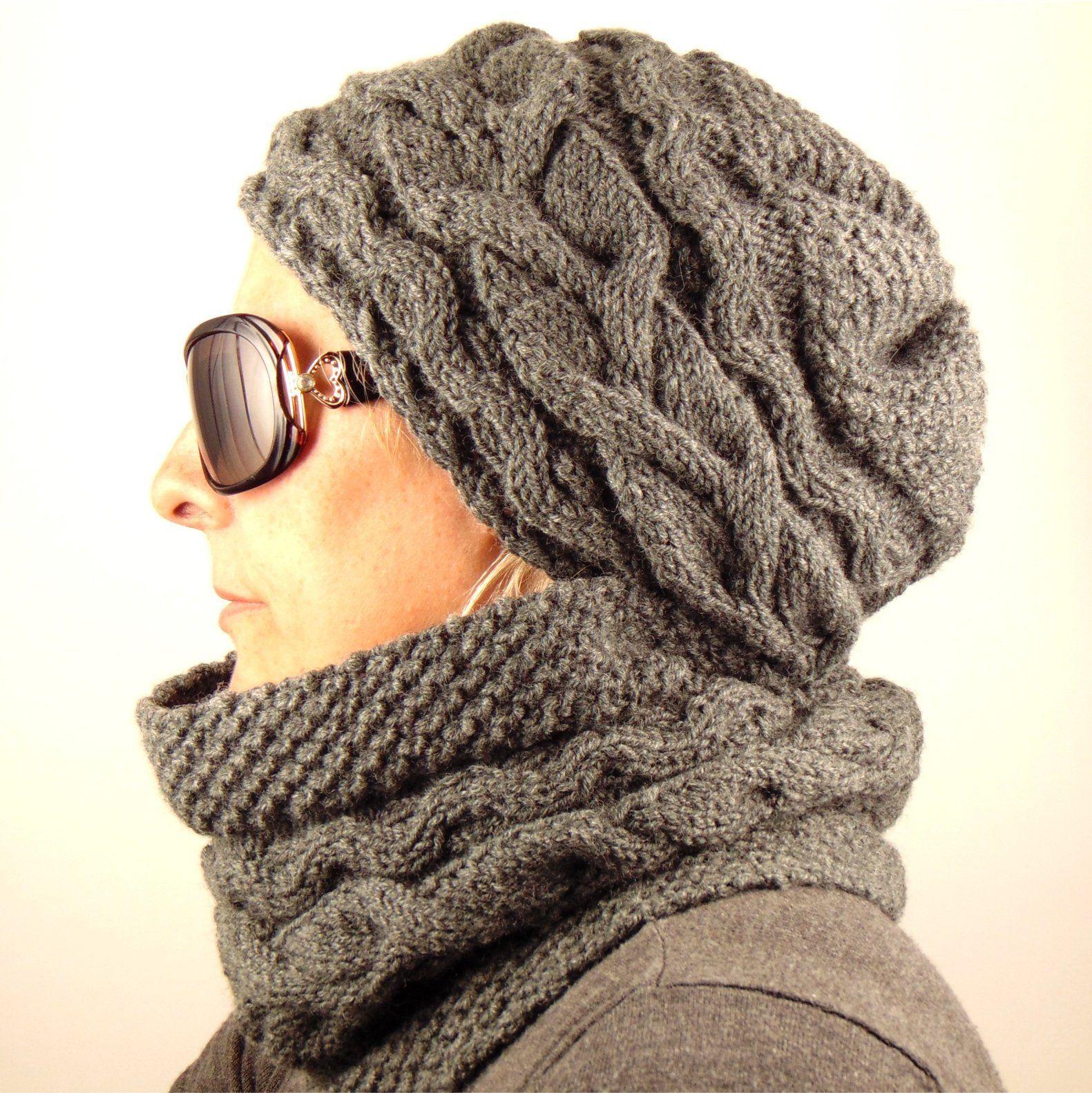 Hand Knit Aran señoras Sombrero