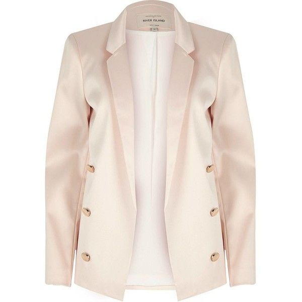 b433941b73a River Island Light pink satin blazer ( 60) ❤ liked on Polyvore featuring  outerwear