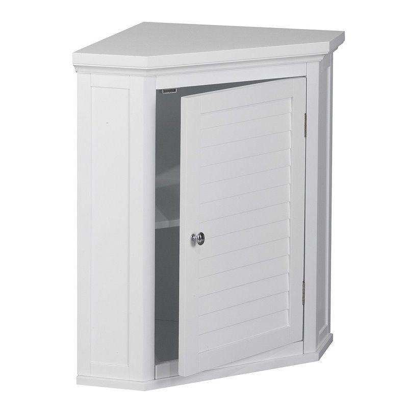 Elegant Home Fashions Slone 1 Door Corner Wall Cabinet In White In 2021 Wall Cabinet Bathroom Corner Cabinet Elegant Home Fashions