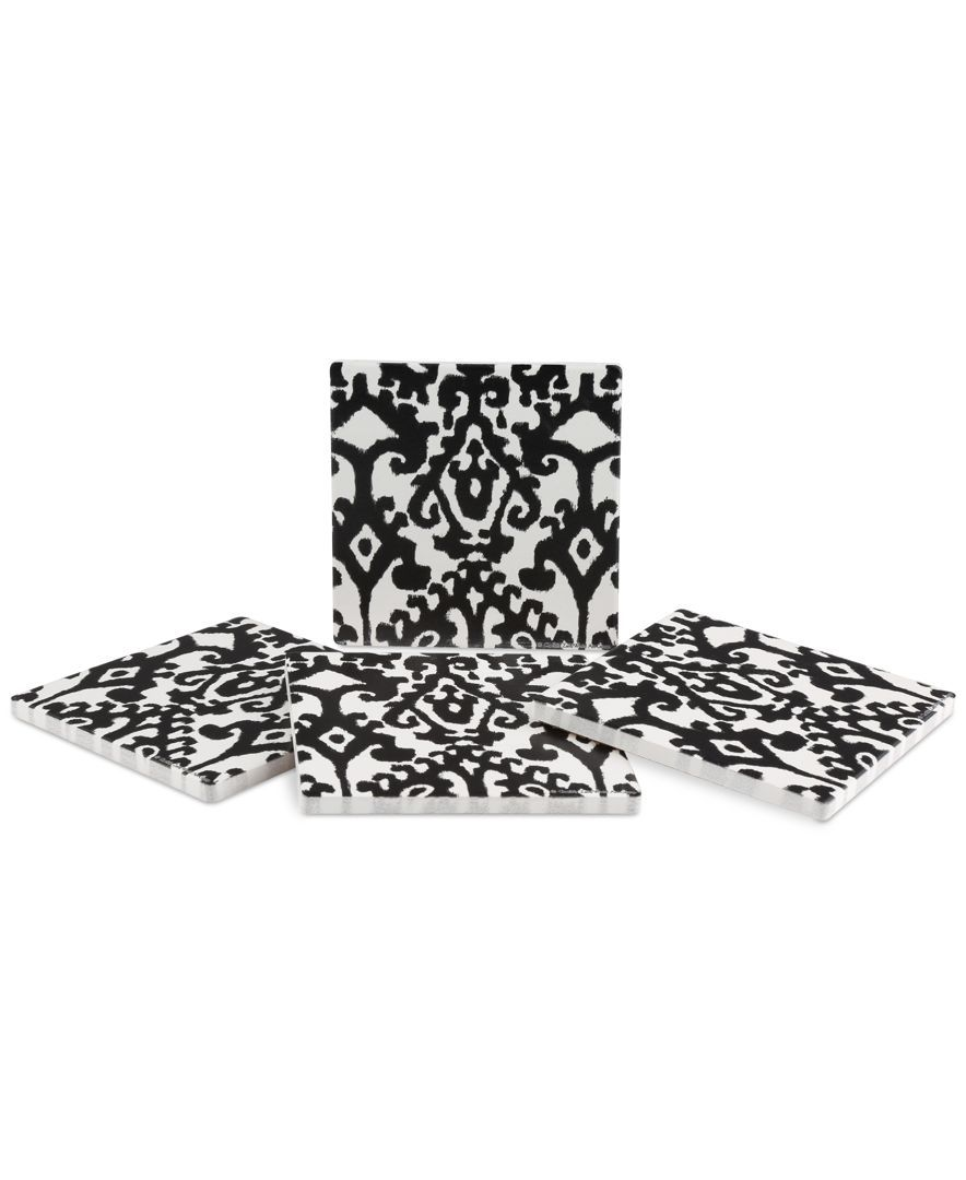 Thirstystone samara black ikat pc coaster set shops products