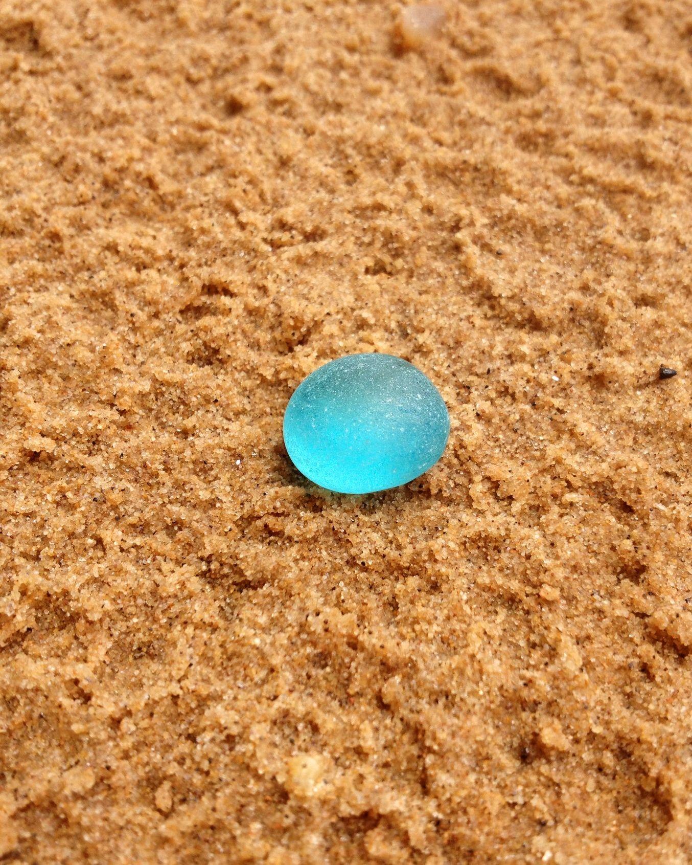 Piece of antique beach glass -- half round aqua