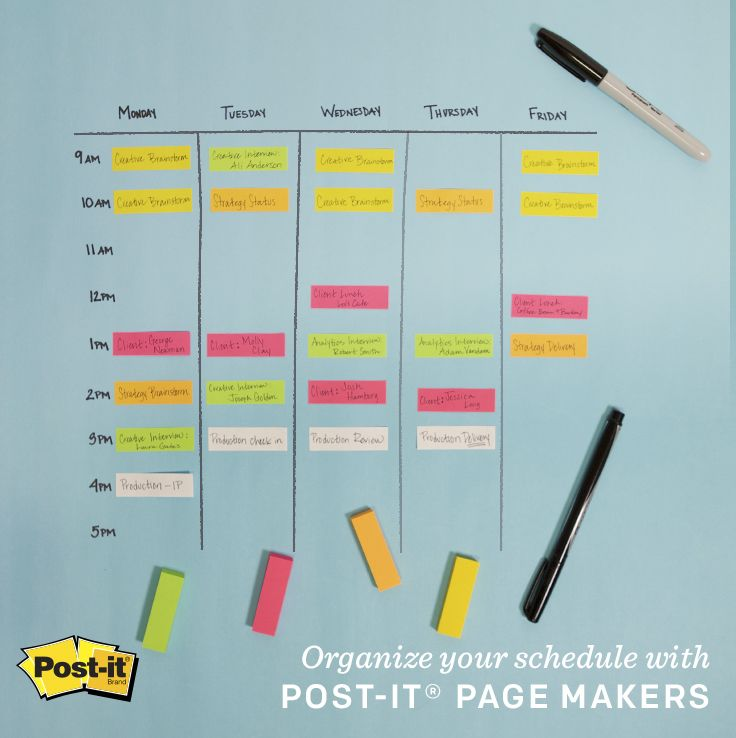Use Post-it Page Markers to keep your schedule flexible and under