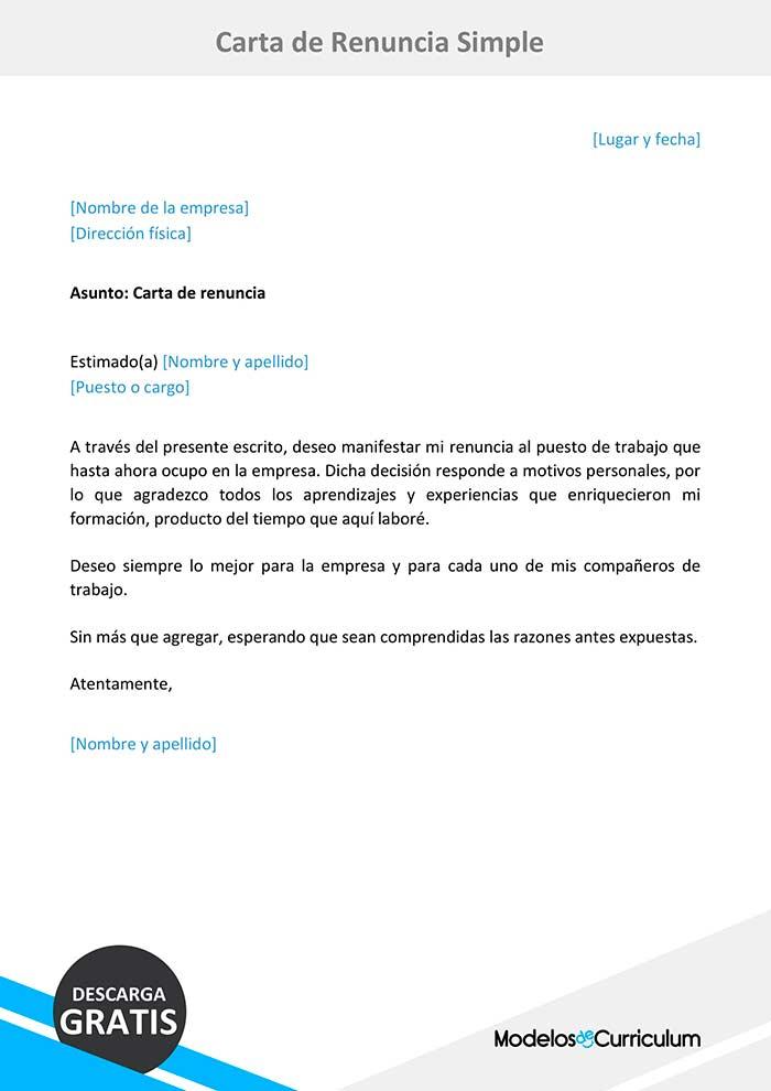 Modelo De Carta De Renuncia Simple En Word Sencilla Y Carta De Renuncia Ejemplos De Carta De Renuncia Ejemplo De Carta Comercial