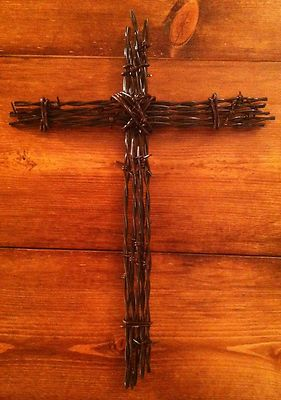 """Barbed Wire Cross Wall Art Rust Decoration Religious Christian 10""""X14"""" 