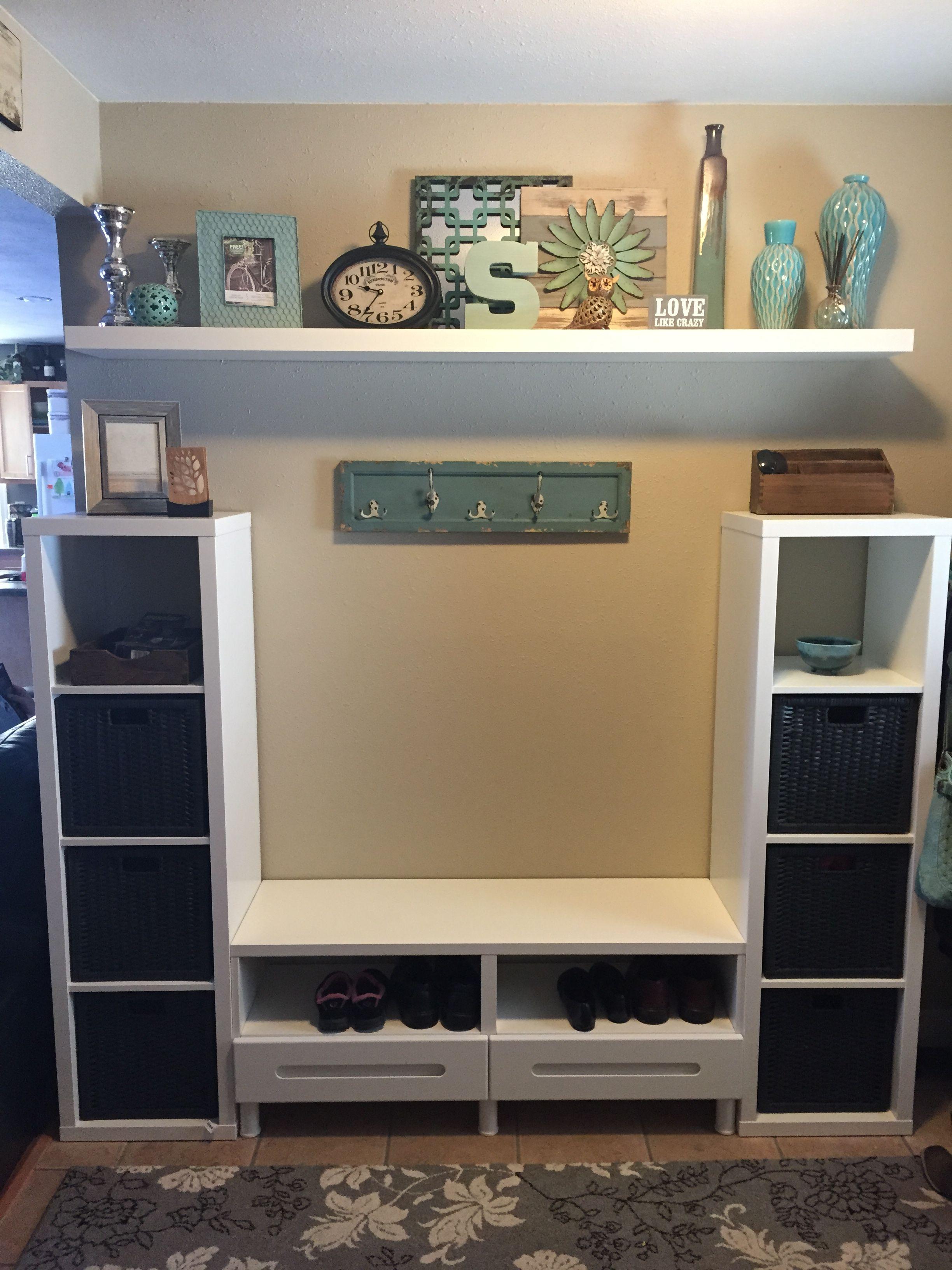 IKEA Kallax bookcase besta shelf unit with drawers and lack shelf