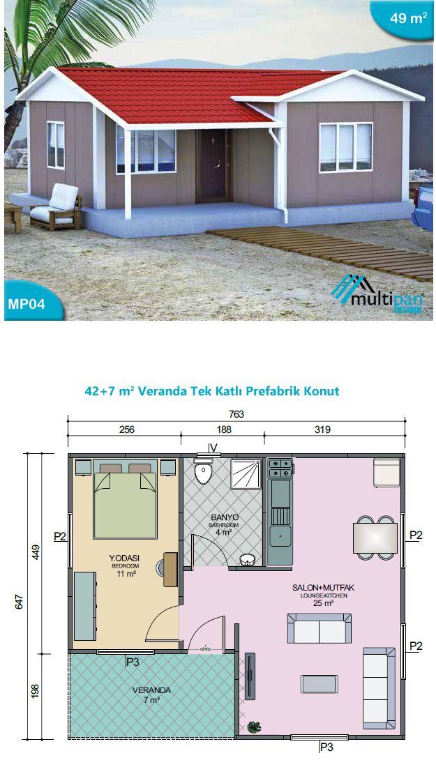 MP4 42m2 + 7m2  1 Bedroom 1 Bathroom Combined Lounge Kitchen Veranda  Bedroom 11m2 Lounge/itchen 25m2 Bathroom 4m2 Veranda 7m2