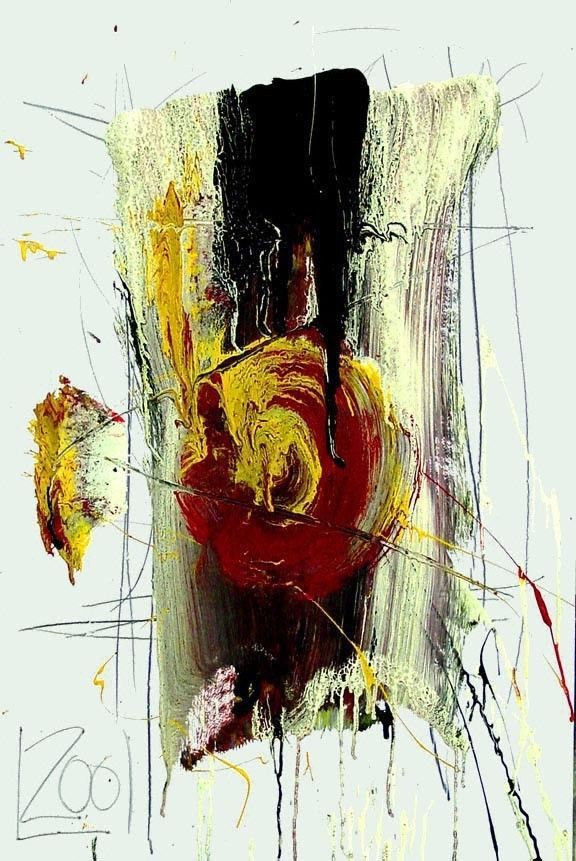 original LABEDZKI paintings abstract ABSTRACT #1957 25x38 in mixed media