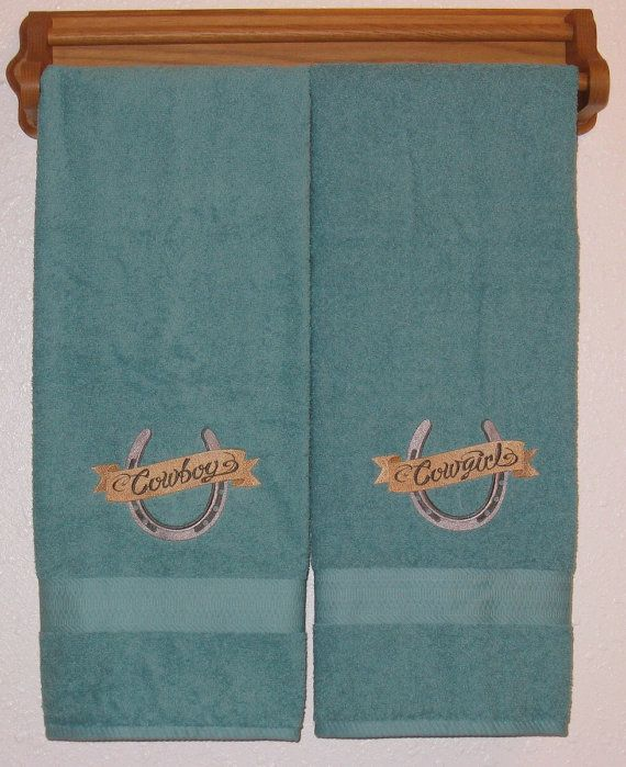 Embroidered Towels For Wedding Gift: COWBOY And COWGIRL Horseshoe Towel Set