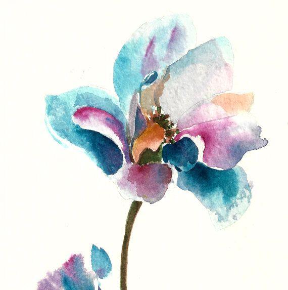 Flower Watercolor Painting Original Watercolor por CanotStop