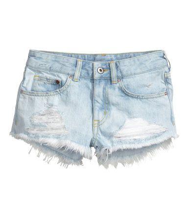 Divided H/&M Junior Denim Shorts Blue Stretch Rolled Cuff High Waist Choose Size