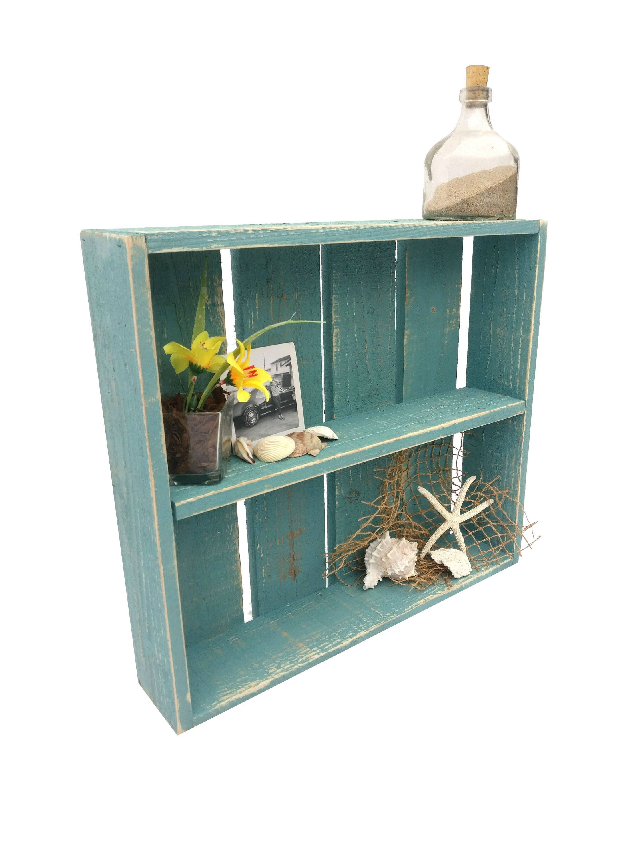 Beach House Shadow Box - distressed bathroom shelving shelving unit ...