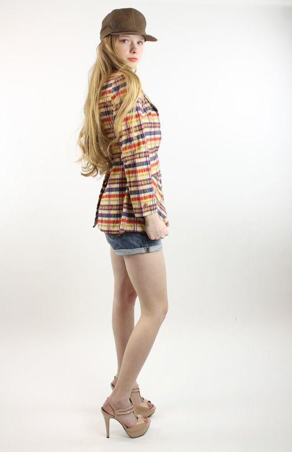 70s Plaid Boyfriend Blazer Peplum Nipped Waist, denim shorts and nude platform heels. Blazer for sale at ScarletFury, $56.00, https://www.etsy.com/listing/177204860/70s-plaid-blazer-jacket-muticolored?ref=shop_home_active_1 Women's Street Style