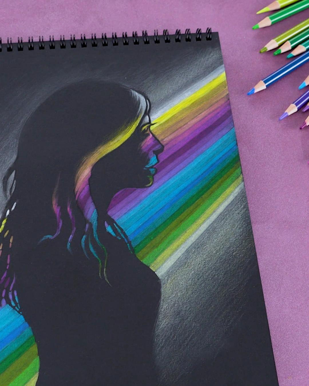 Black Paper Drawing | Arteza Colored Pencils + Handy TIPS | ARTEZA