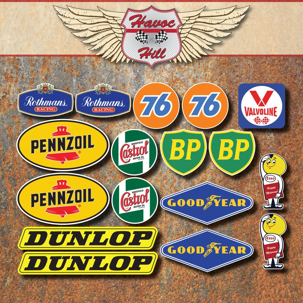 Race+Sticker+Retro+Set+Rothmans+76+Castrol+Dunlop+Penzoil+BP+Esso+Car+Motorcycle